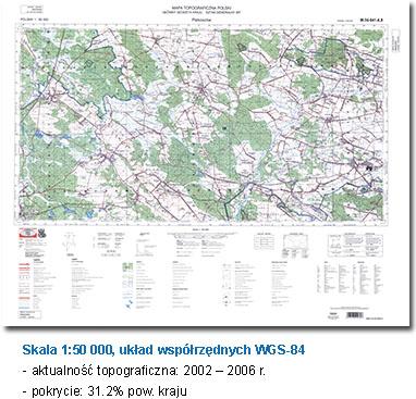 Skala 1:50000, układ współrzędnych WGS-84