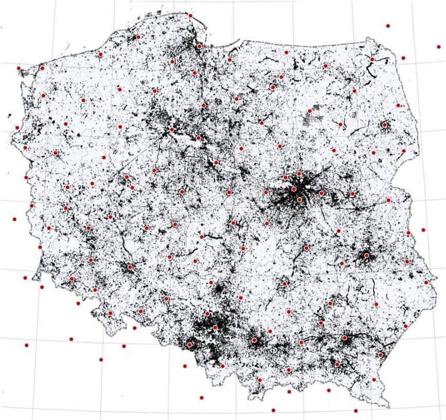 Mapa Polski z zaznaczonymi na czerwono lokalizacjami stacji referencyjnych. Kolorem czarnym przedstawiono na mapię stopień wykorzystania serwisów ASGEUPOS.