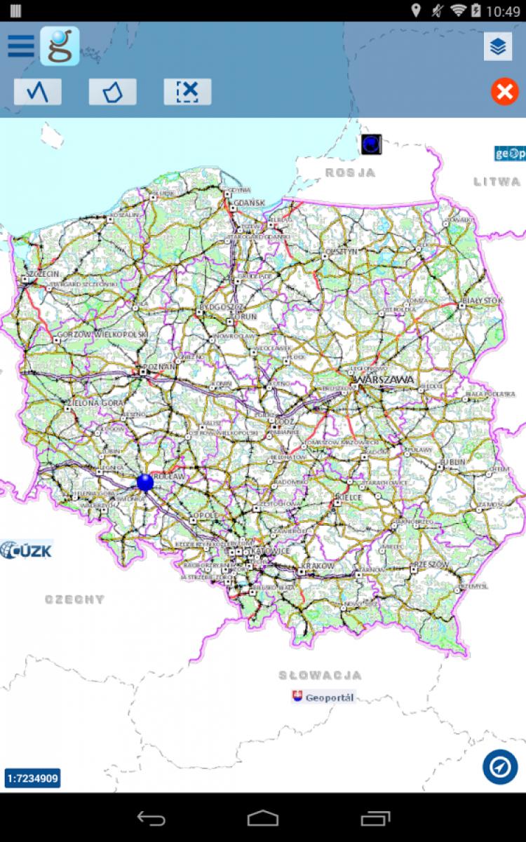 Mapa Polski w aplikacji mobilnej dla systemu Android