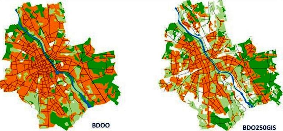 Na przykładzie wycinka mapy Warszawy pokazana została większa szczegółowość informacji prezentowanych w BDO250GIS (po prawej stronie) w stosunku do bazy BDO