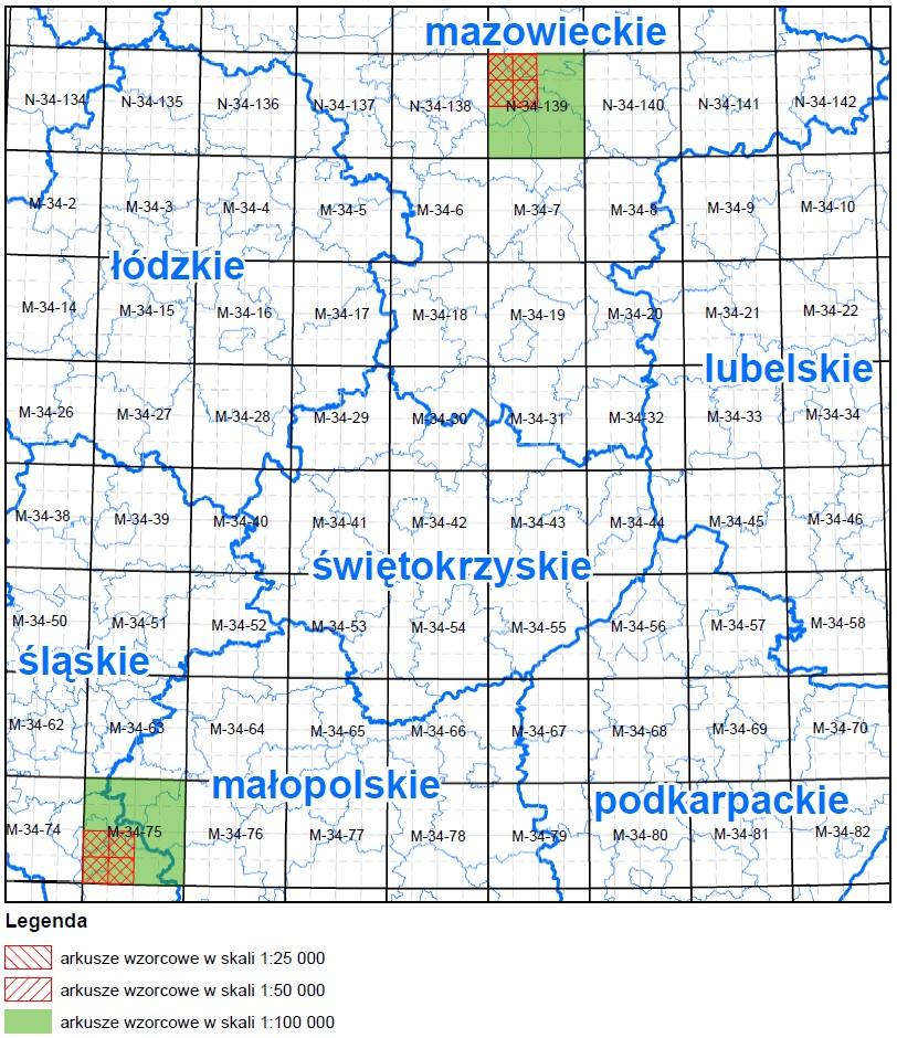 Mapa Polski z zaznaczonymi obszarami, w których odbywały się prace podczas kolejnych etpaów. Kolor czerwony - arkusze wykonywane w I etapie, zielony- arkusze wykonywane w II etapie, żółty- arkusze wykonywane w III etapie