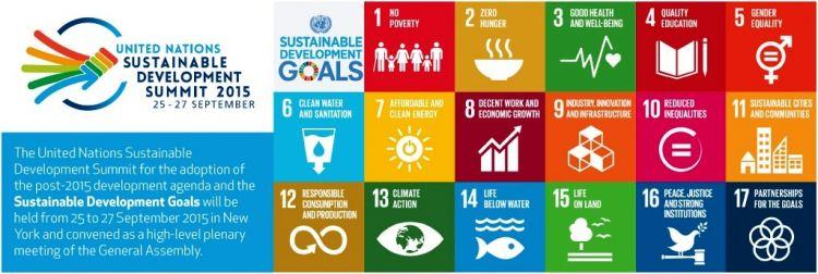 Banner zawierający informację o elementach niezbędnych dla zapewnienia zrównowazonego rozowju. 17 punktów wskazanych na szczycie w Nowym Jorku