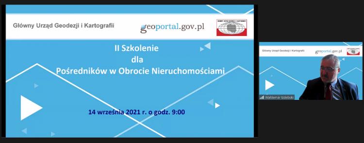 Zrzut ekranu z aplikacji ZOOM (programu do prowadzenia telekonferencji). Po lewej stronie na jasnoniebieskim tle napisy: