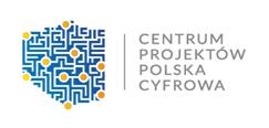 Logo CPPC kształt granic Polski z niebieskich kropek po prawe nazwa instytucji Centrum Projektów Polska Cyfrowa