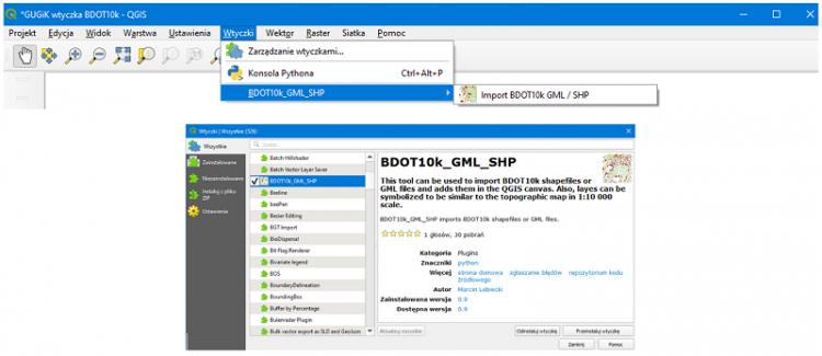 Ilustracja przedstawia zrzut ekranu komputera z zaznaczoną lokalizacją wtyczki BDOT10k_GML_SHP w repozytorium wtyczek programu QGIS