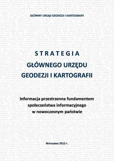 Okładka broszury Misja i Wizja GUGiK. Na białym tle pokrytym jasnoszarymi napisami tytuł w kolorze granatowym