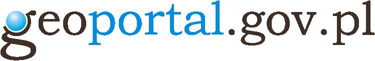 Logo Projektu Geoportal adres serwisu geoportal.gov.pl, w którym słowo portal napisane jest niebieską czcionką a reszta czarną