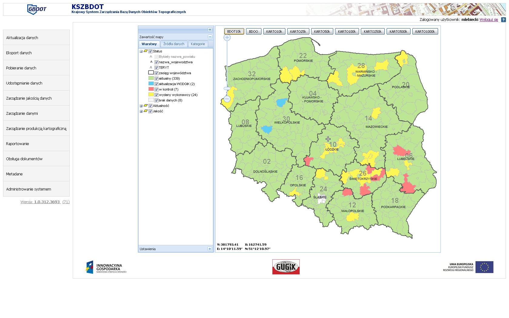 Zrzut ekranu okna KSZBDOT. Od lewej menu, po prawej okno mapy