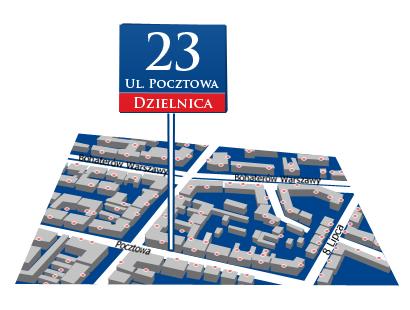Tabliczka z numerem porządkowym budynku na tle mapy. Tabliczka niebieska z czerwonym paskiem na dole oraz białym napisem