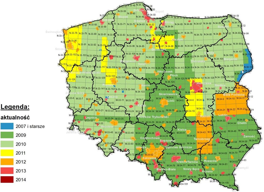 Aktualność ortofotomap w PZGiK – stan na marzec 2015 r. (źródło: CODGiK). Kolory: niebeski 2007 i starsze, ciemno zielony 2009, jasno zielony 2010, żółty 2011, pomarańczowy 2012, rózówy 2013, bordowy 2014