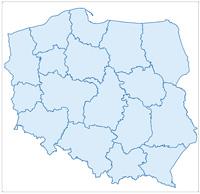Mapa Polski z zaznaczonymi granicami Regionalnych Dyrekcji Lasów Państwowych