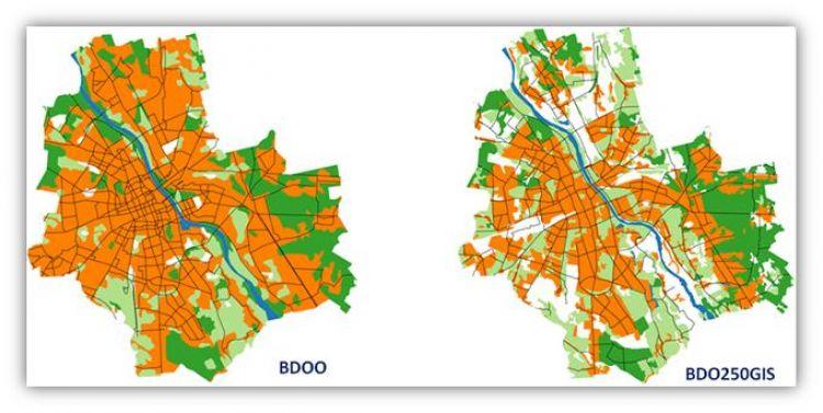 Porównanie danych w bazach BDOO i BDO250GIS dla obszaru m.st. Warszawy
