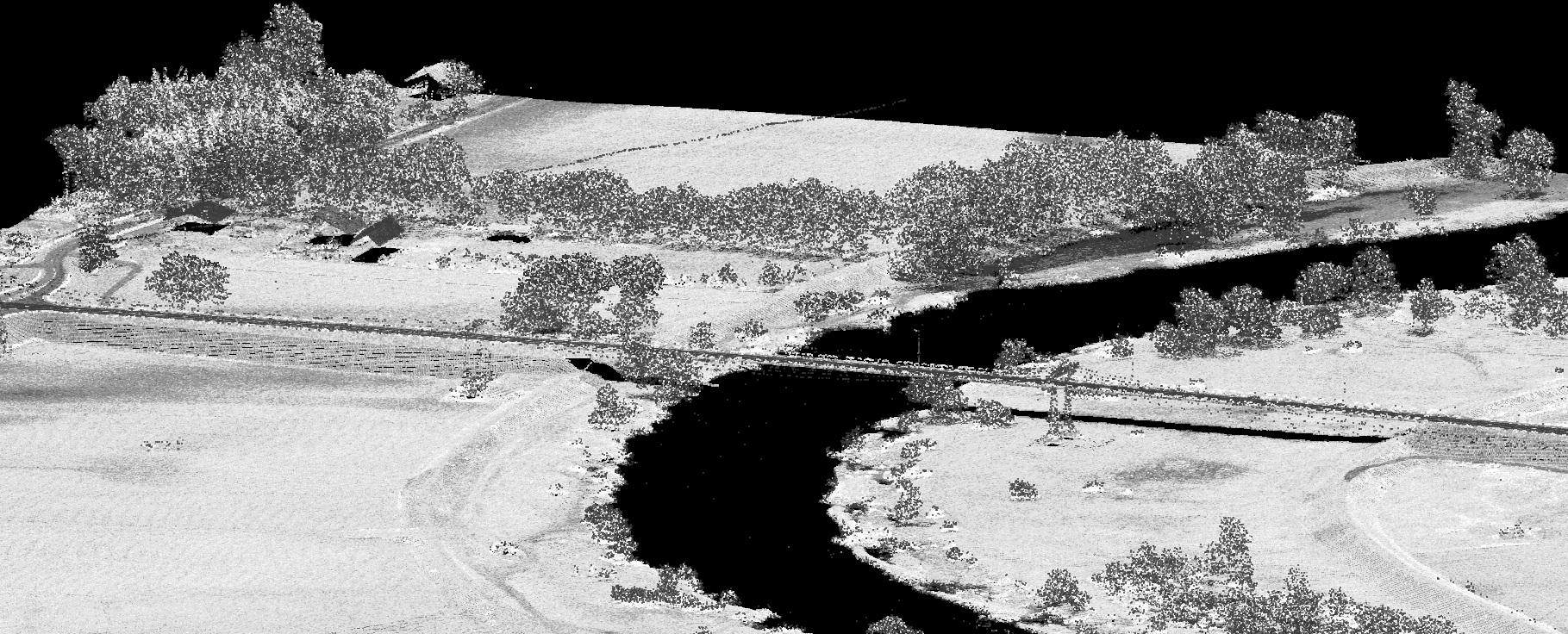 Obraz w odcieniach szarości, zakole rzeki. Dane pozwalają na określenie intensywności odbicia promienia laserowego od powierzchni terenu