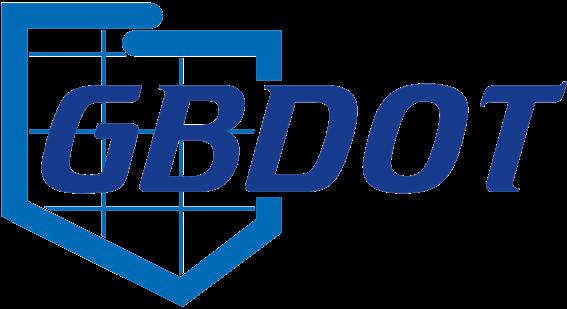 Logo Projektu GBDOT. Niebieski napis GBDOT wpisany w kontur granicy Polski