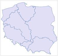 Mapa Polski z zaznaczonymi granicami Regionalnych Zarządów Gospodarki Wodnej