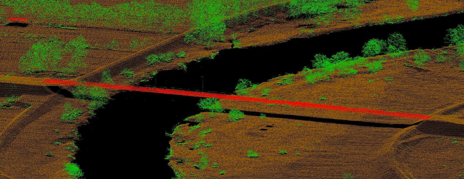 Kolorowy obraz ( od zielonego do czerwonego) poszczególne kolory oznaczają rodzaj materiału od którego odbiła się wiązka lasera