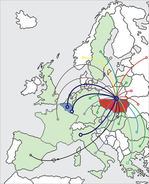 Mapa Europy z zaznaczonymi konturami granic państw. Z Polski wychodzą linie do państw, z którymi współpracuje GUGiK