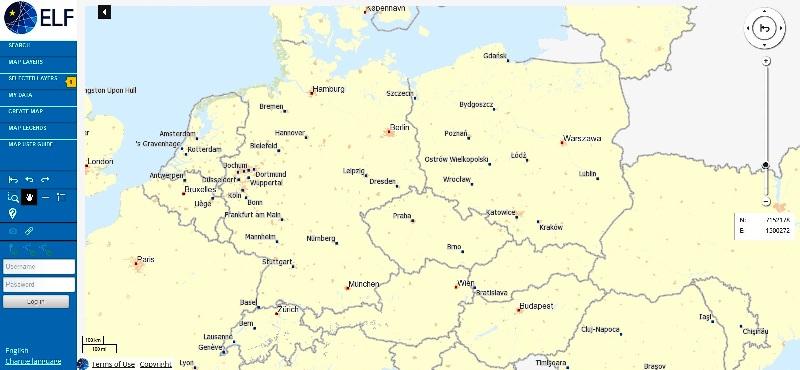 Okno przeglądarki map projektu ELF. Widoczny obszar Polski i Niemiec. Od lewej strony menu pozwalające na wybór rodzaju mapy, po prawej suwak zmieniający skale.