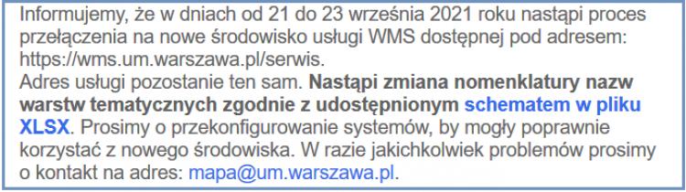 Ilustracja przestawiająca informację ze strony internetowej Urzędu m. st. Warszawy z tekstem