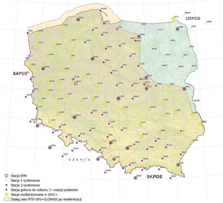 mapa Polski z zaznaczonymi lokalizacjami stacji systemu ASG-EUPOS