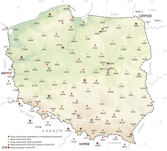 Mapa Polski z zaznaczonymi likalizacjami stacji referenyjnych systemu ASGEUPOS