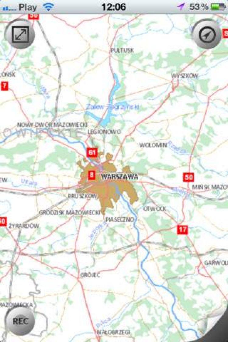 Fragment mapy na ekranie smartfona (Warszawa)